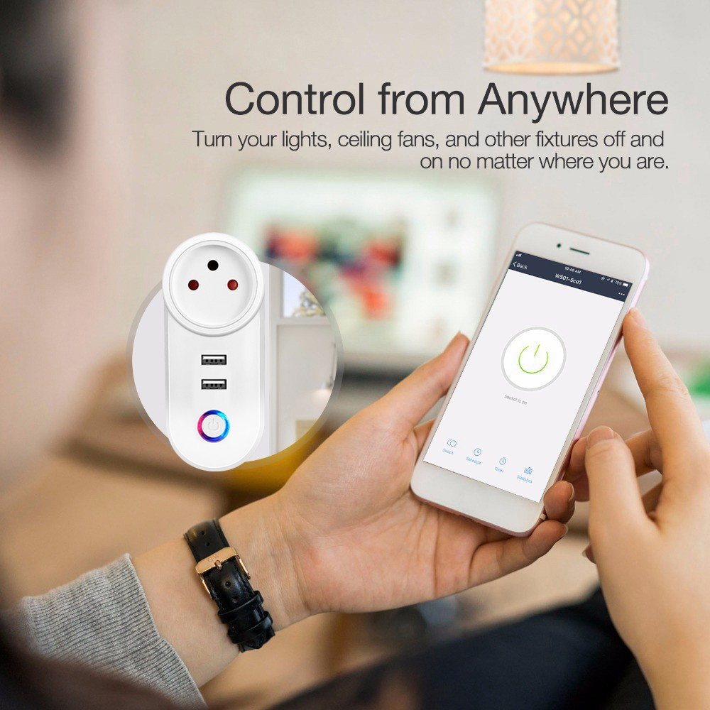 Smart WiFi Power Plug Outlet Socket with USB Remote Control